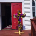 Flowers on a cross for Easter outside St. Paul's Episcopal in Westbrook, CT