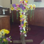 Flowers on a cross for Easter at St. Paul's Episcopal in Westbrook, CT