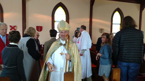 Bishop Ian Douglas during the Passing of the Peace while visiting St. Paul's Episcopal Church in Westbrook, CT