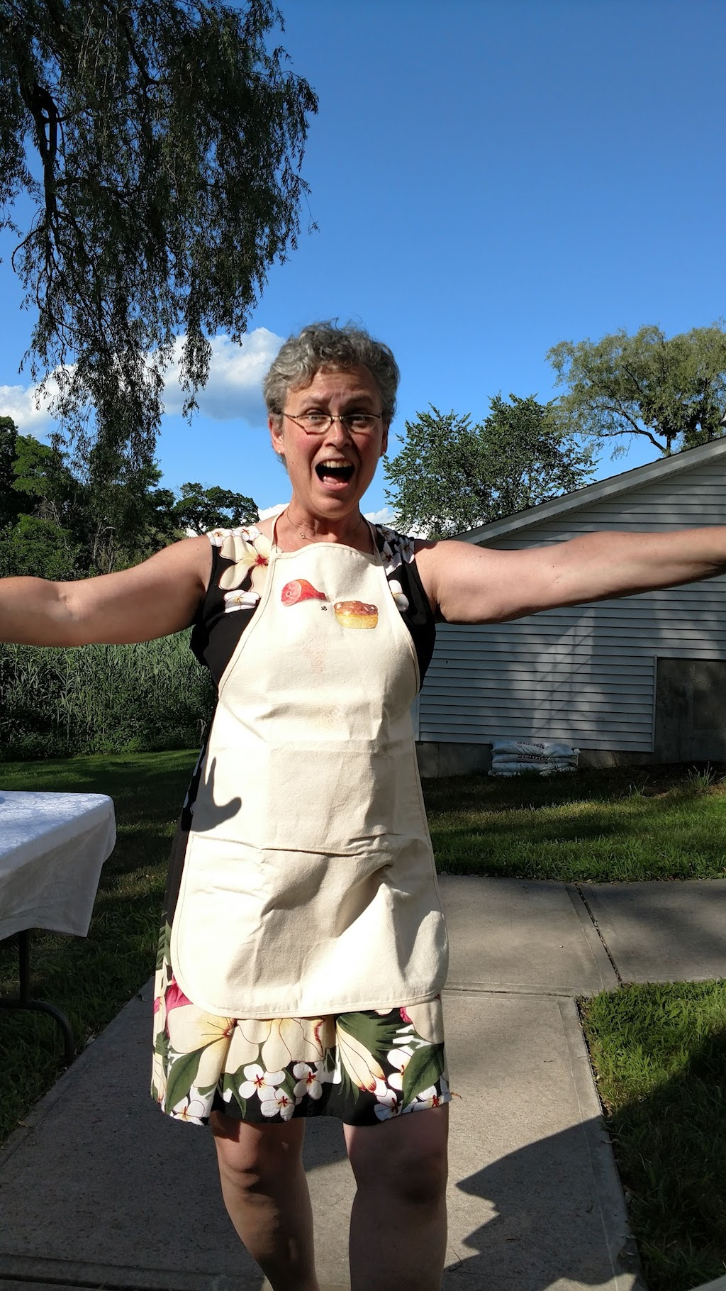 Happy volunteer at the Ham and Beans Supper hosted by St. Paul's Episcopal Church in Westbrook, CT